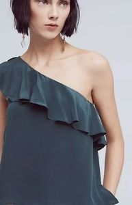 NWOT Maeve Anthro Holly silk one shoulder blouse